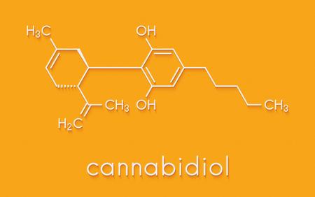 Cannabidiol (CBD) cannabis molecule. Has antipsychotic effects. Skeletal formula.