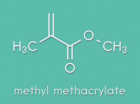 Methyl methacrylate molecule, poly(methyl methacrylate) or acrylic glass building block. Skeletal formula. Stock Photo