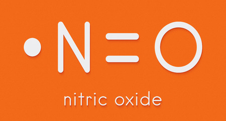 Nitric oxide (NO) free radical and signaling molecule. Skeletal formula. Stock Photo