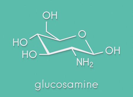 Glucosamine dietary supplement molecule. Used in treatment of osteoarthritis. Skeletal formula. Banco de Imagens