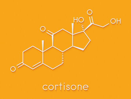 Cortisone stress hormone molecule. Skeletal formula. Stock Photo