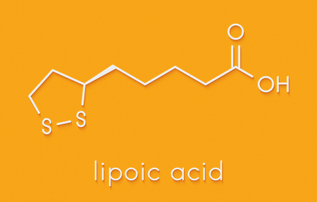 Lipoic acid enzyme cofactor molecule. Present in many nutritional supplements. Believed to have anti-oxidant, anti-aging and weight-loss effects. Skeletal formula.