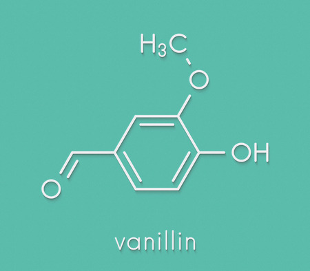 Vanillin vanilla extract molecule. Skeletal formula. Stock Photo