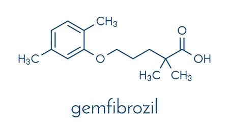 Gemfibrozil hyperlipidemia drug molecule (fibrate class). Skeletal formula.