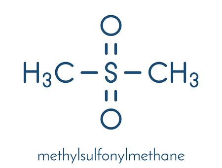 Méthylsulfonylméthane (MSM) molécule de complément alimentaire, structure chimique Formule squelettique.