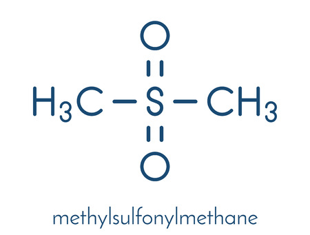 Metilsulfonilmetano (MSM) molécula de suplemento dietético, estructura química Fórmula esquelética. Foto de archivo - 87062578