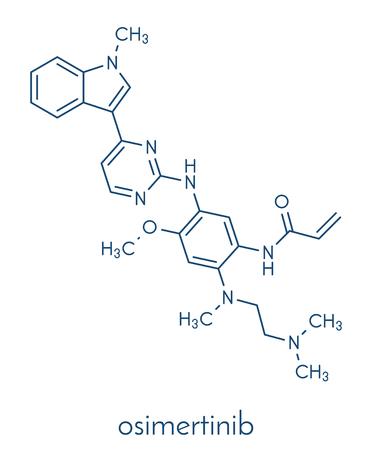 Osimertinib cancer drug molecule. Skeletal formula.