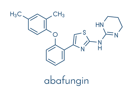 Abafungin antifungal drug molecule. Skeletal formula. Banco de Imagens - 87062589