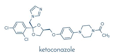 Ketoconazole antifungal drug molecule. Skeletal formula.