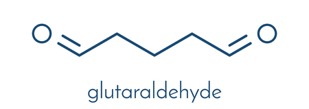 Glutaraldehyde (glutaral) disinfectant molecule. Used in disinfection of medical devices and surgical instruments. Skeletal formula.