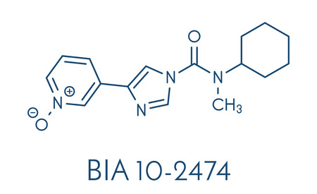 amide: BIA 10-2474 experimental drug molecule. Fatty acid amide hydrolase (FAAH) inhibitor that caused severe adverse events in a clinical trial in France in 2016. Skeletal formula.