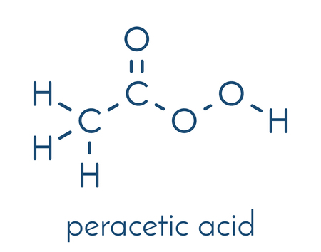 Peracetic acid (peroxyacetic acid, paa) disinfectant molecule. Organic peroxide commonly used as antimicrobial agent. Skeletal formula. Illustration