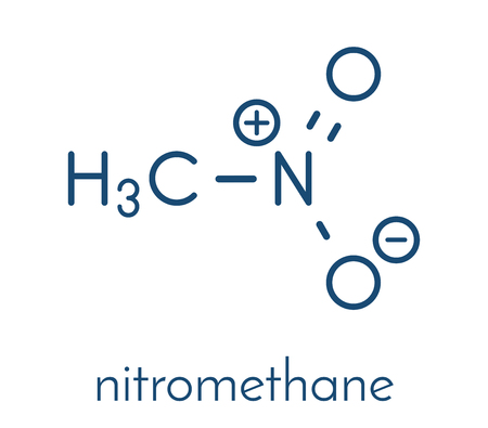 Nitromethane nitro fuel molecule. Used as fuel to power rockets, drag racing cars, etc. Also used as high explosive. Skeletal formula.