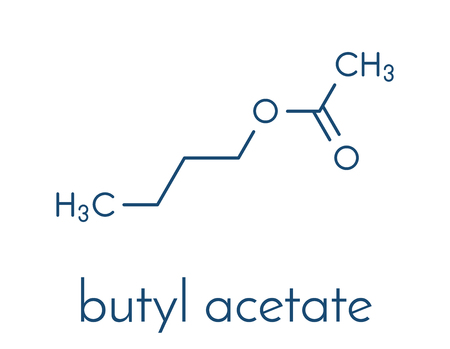 Butyl acetate molecule. Used as synthetic fruit flavoring and as organic solvent. Skeletal formula.