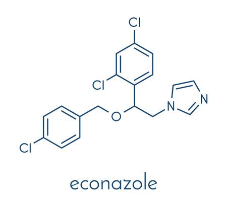 Econazole antifungal drug molecule. Skeletal formula.