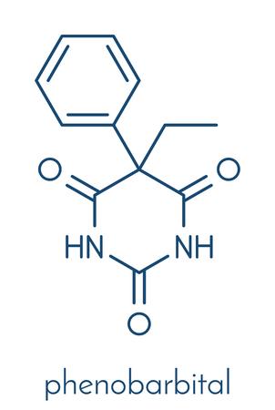 Phenobarbital barbiturate anticonvulsant (epilepsy drug), chemical structure Skeletal formula.