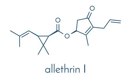 mosquitos: Allethrin pyrethroid insecticide. Synthetic analog of chrysanthemum flower chemical. Often used against mosquitos. Skeletal formula.