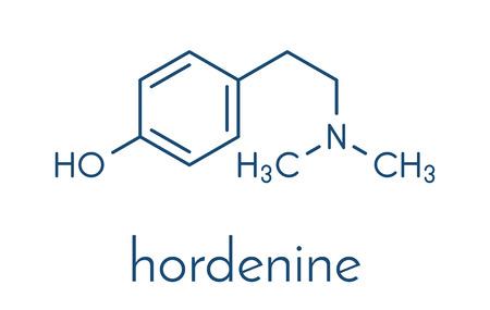 Hordenine (dimethyltyramine) stimulant molecule, chemical structure.  Skeletal formula.