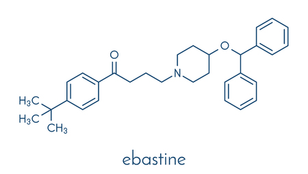 Ebastine antihistamine drug molecule. Skeletal formula.
