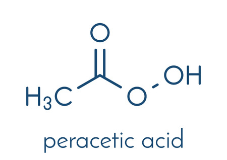 Peracetic acid (peroxyacetic acid, paa) disinfectant molecule. Organic peroxide commonly used as antimicrobial agent. Skeletal formula. Ilustração