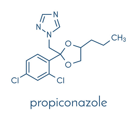 Propiconazole fungicide molecule, used in agriculture for crop protection. Skeletal formula.