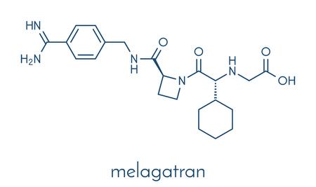 Melagatran 抗凝固薬分子 (直接トロンビン阻害剤)。骨格式。  イラスト・ベクター素材