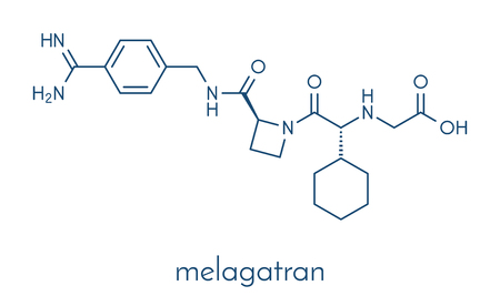 Melagatran anticoagulant drug molecule (direct thrombin inhibitor). Skeletal formula. Banco de Imagens - 87062658