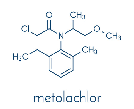 Metolachlor herbicide (weed killer) molecule. Skeletal formula. Illustration
