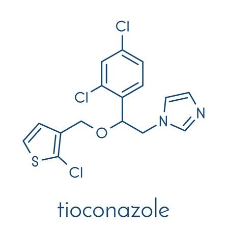 Tioconazole antifungal drug molecule. Skeletal formula.