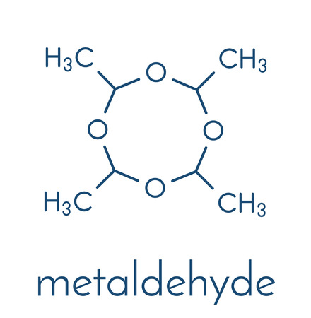 Metaldehyde pesticide molecule. Used against slugs and snails and as solid camping fuel. Skeletal formula.