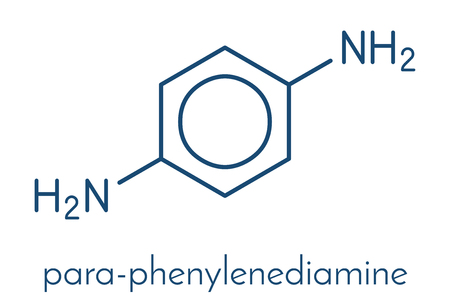 p-Phenylenediamine (PPD) hair dye molecule skeletal formula vector illustration