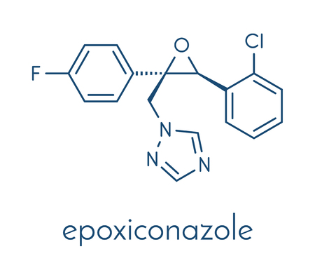 Epoxiconazole fungicide molecule skeletal formula vector illustration