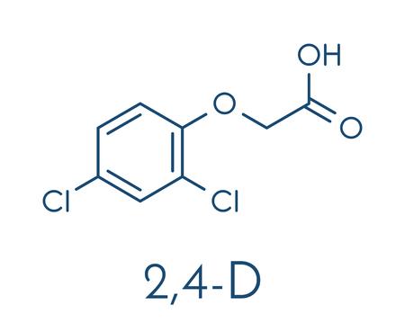 2,4-D (2,4-dichlorophenoxyacetic acid) agent orange ingredient used as pesticide and herbicide and ingredient skeletal formula vector illustration