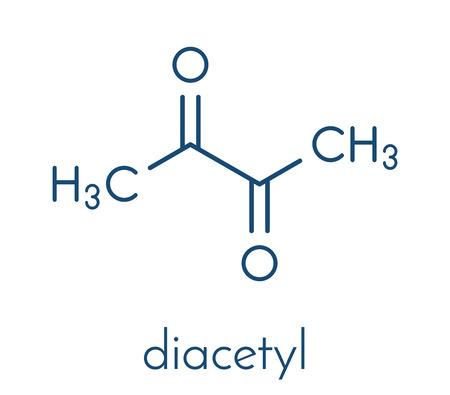 Molecola di diacetile (butanedione) utilizzata per la formula scheletrica aromatizzata al burro Vettoriali