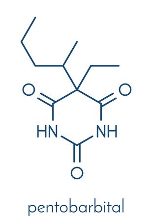 Pentobarbital (pentobarbitone) barbiturate sedative, chemical structure Skeletal formula.