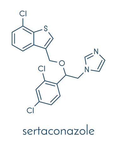 Sertaconazole antifungal drug molecule. Skeletal formula.