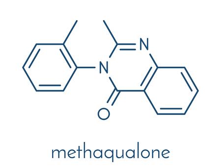 Methaqualone recreational drug, chemical structure. Skeletal formula. Çizim