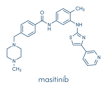 Masitinib cancer drug molecule. Skeletal formula.