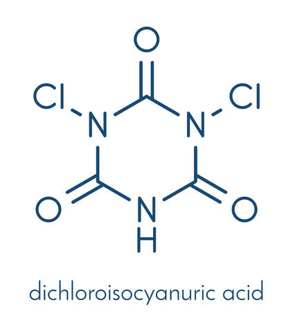 Troclosene (dichloroisocyanuric acid) molecule. Used as disinfectant, deodorant, biocide, detergent and in water purification. Skeletal formula.