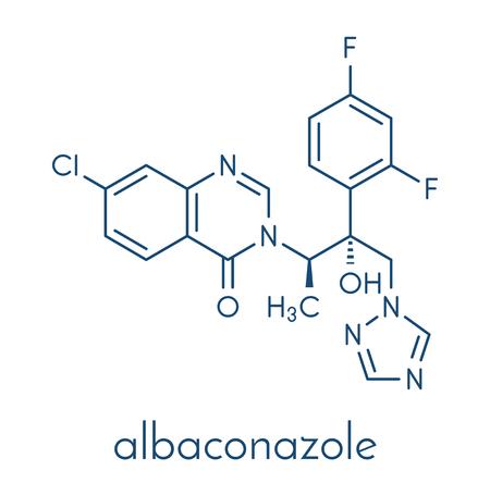 Albaconazole antifungal drug molecule. Skeletal formula. Stock Illustratie