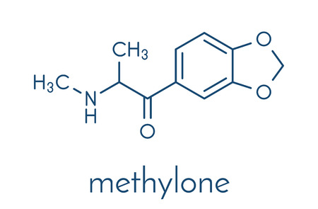 Methylone (bk-MDMA) stimulant molecule. Used as recreational drug. Skeletal formula. Illustration