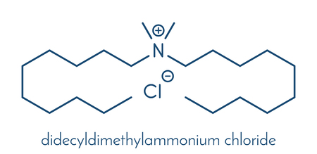 Didecyldimethylammonium chloride antiseptic molecule. Biocidal disinfectant, active against bacteria and fungi. Skeletal formula.