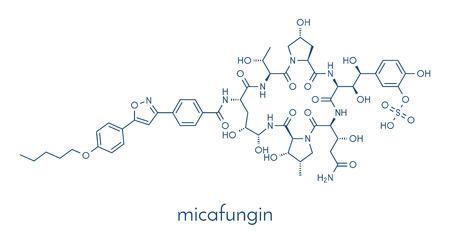 Micafungin antifungal drug molecule. Skeletal formula.