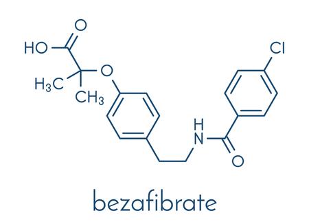Bezafibrate hyperlipidemia drug molecule (fibrate class). Skeletal formula.