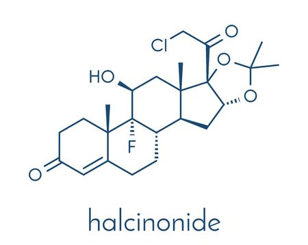 Halcinonide topical corticosteroid drug molecule. Skeletformule.