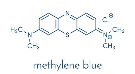 Methylene blue (methylthionium chloride) dye molecule. Skeletal formula.