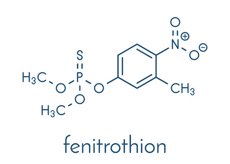 Fenitrothion phosphorothioate insecticide molecule. Skeletal formula. Banco de Imagens - 87062721