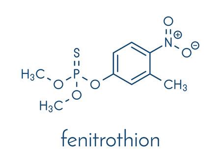 Fumitrothion phosphorothioate molécule d'insecticide. Formule squelettique. Vecteurs