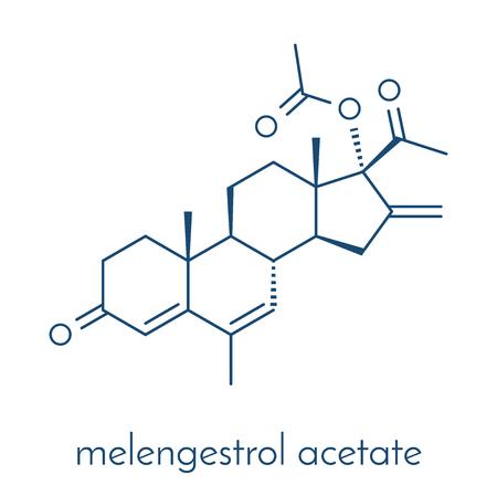 Melengestrol acetate (MGA) veestapelgroeimiddel Skeletformule.