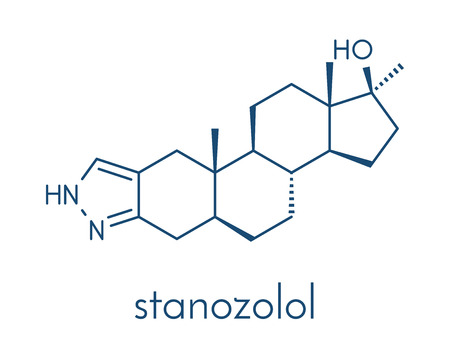 Stanozolol anabolic steroid drug, chemical structure. Skeletal formula.
